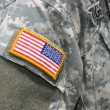 USA flaggan patch på soldat uniform — Stockfoto