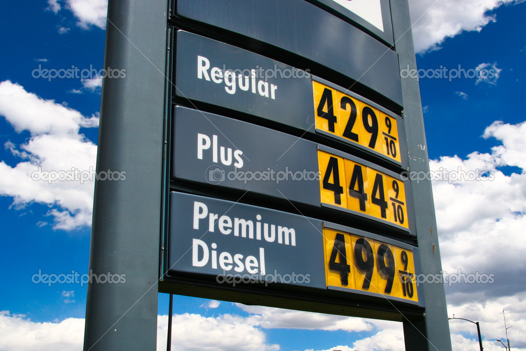 Gas price sign with a blue sky background — Stok fotoğraf #2352040