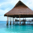Beach Palapa Hut on Dock - Stock Photo