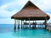 Beach Palapa Hut on Dock — Stock Photo
