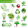 Collection of green eco-icons - Imagen vectorial