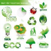 Colección de iconos-eco verdes — Vector de stock