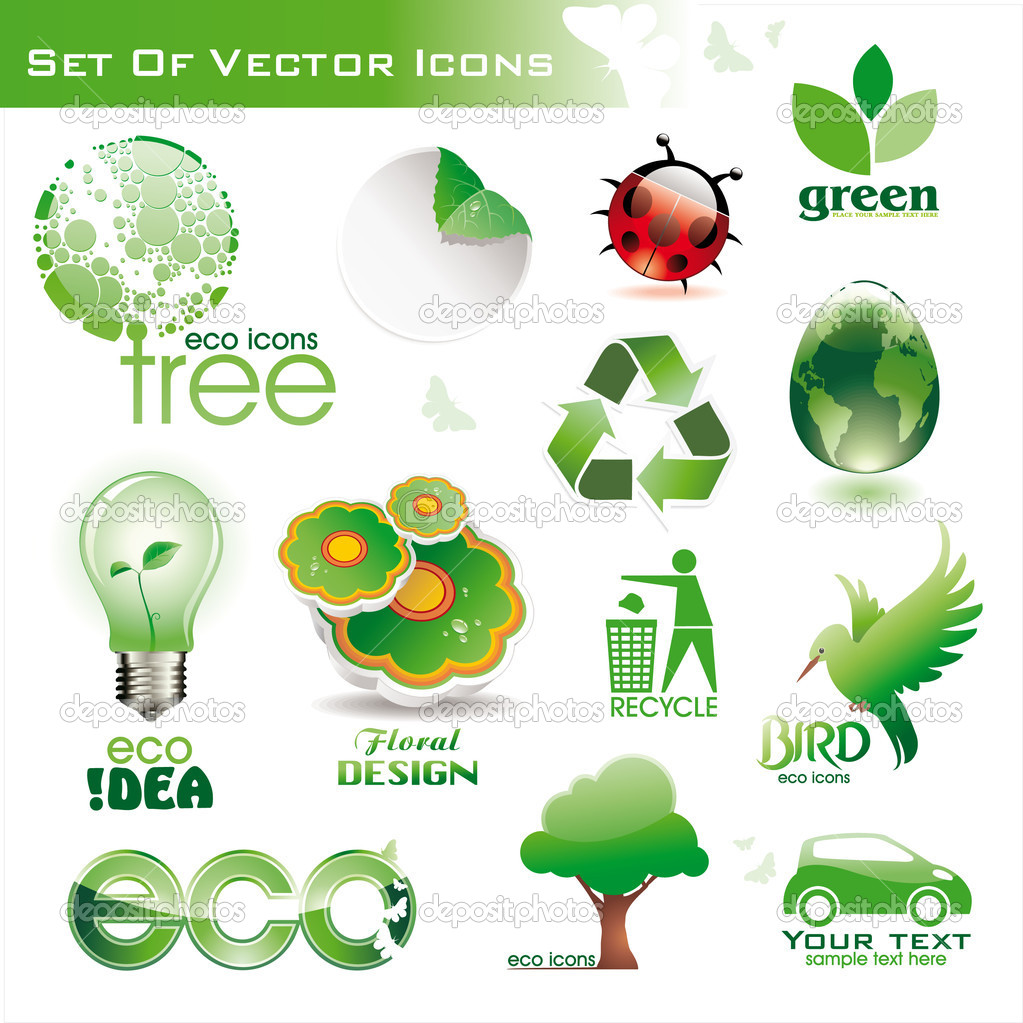 Collection of green eco environmental  3d and 2d icons — Stock Vector #2355288