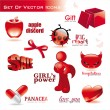 Collection of red glossy icons - Stock Vector