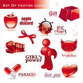 Collection of red glossy icons — Stock Vector