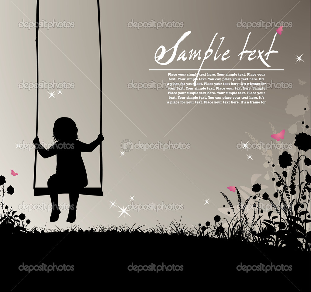 Placard with silhouette of a girl on a swing, flowers and colored butterflies  Stock Vector #2446085
