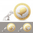 Human pushing on a giant gold coin — Stock Vector