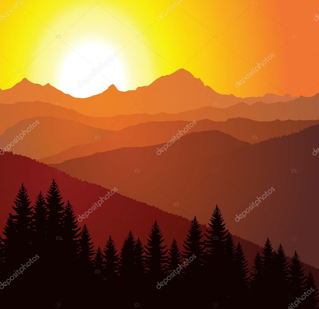 Vector panorama of mountains — Stock Vector #2363723