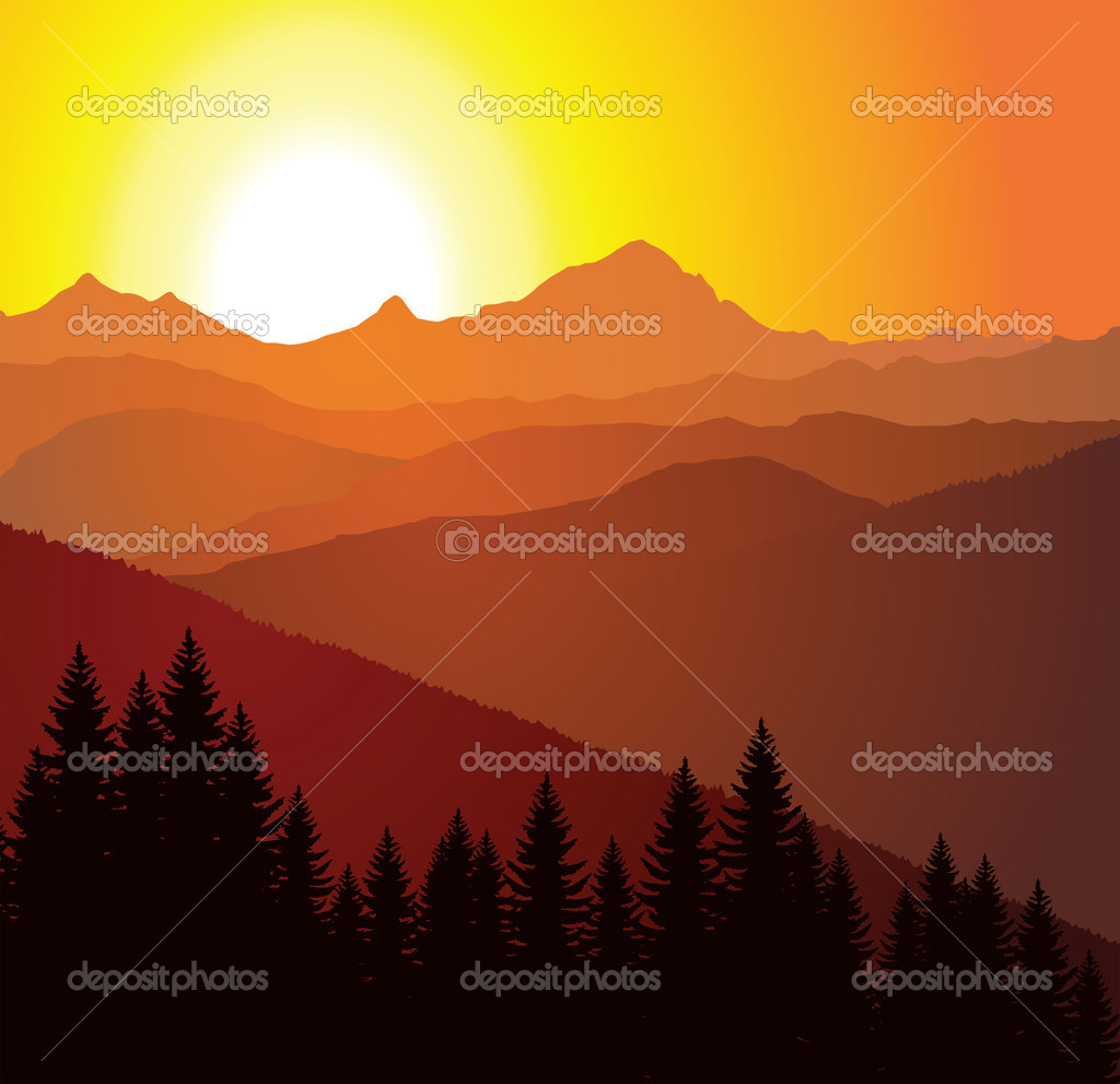 Vector panorama of mountains — ベクター素材ストック #2363723