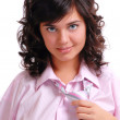 A girl is in a pink shirt - Stock Photo