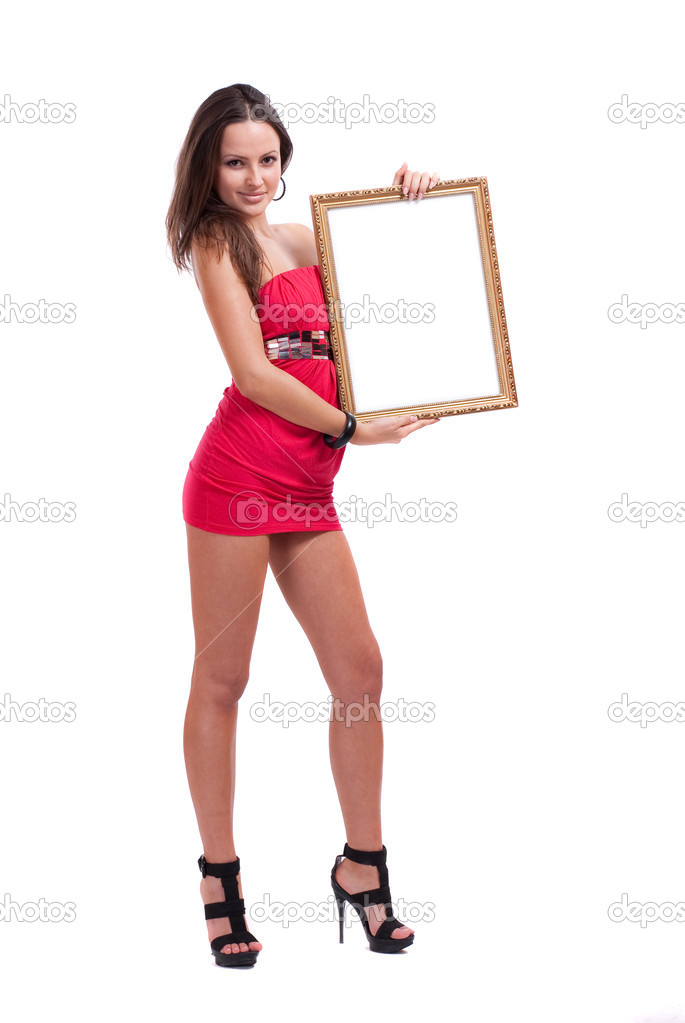 Girl with a scope on a white background — Stock Photo #2592863