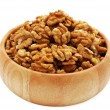 Walnuts in wooden dish — Foto Stock