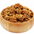 Walnuts in wooden dish — 图库照片