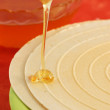 Flowing honey and waffle — Stock Photo