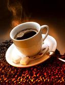 Grãos e café — Foto Stock