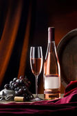 Still life with rose wine — Stock Photo