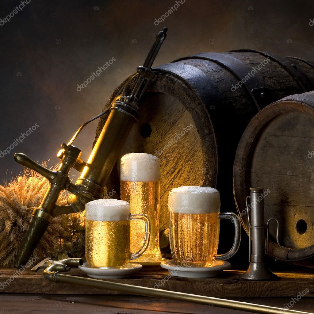 Still life with beer ,barrels,  Foto Stock #2407796