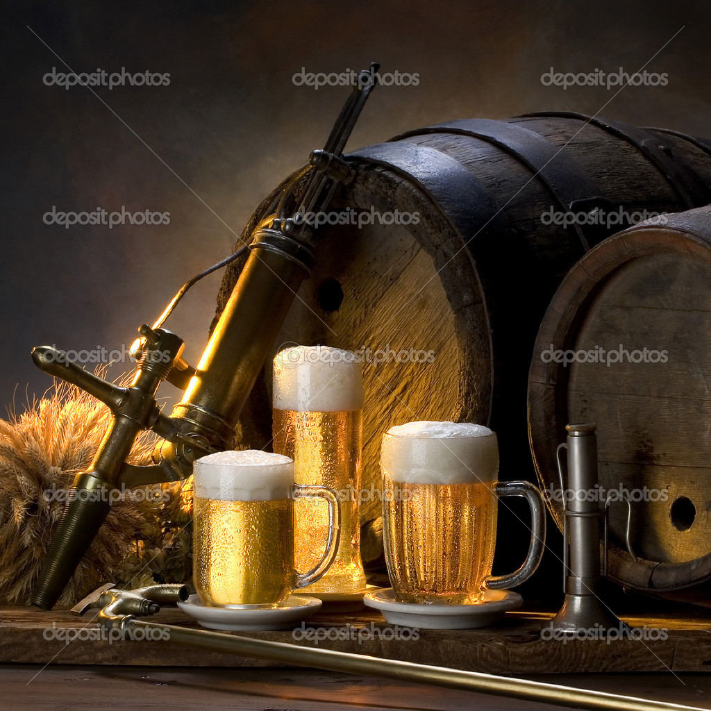 Still life with beer ,barrels, — Foto Stock #2407796