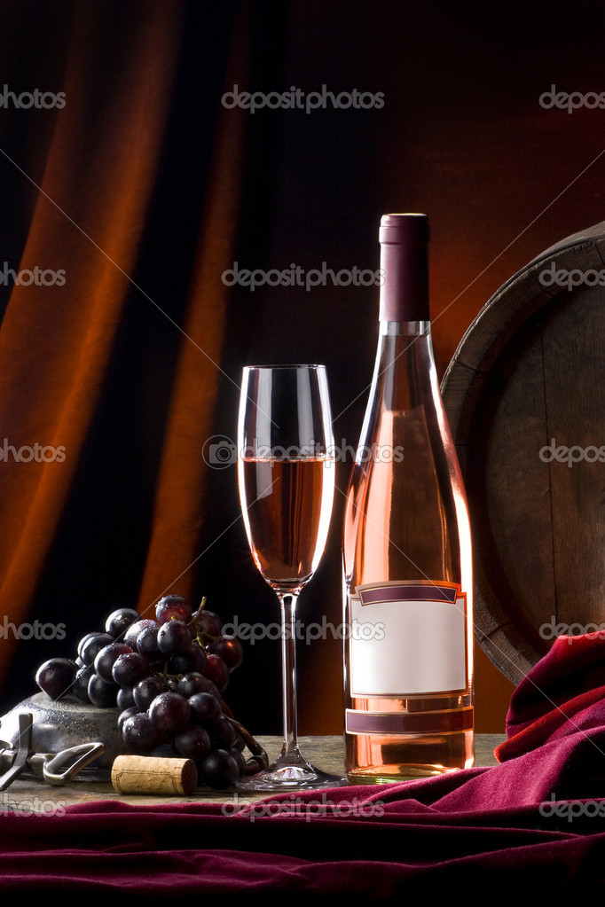 Still life with wine in bottle and glass   Stock Photo #2408165