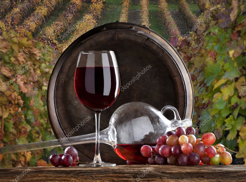 The red wine with vineyard on background — Stock Photo #2408205