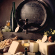Stock Photo: Still-life with wine and barrels