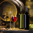 Still-life with wine and barrels - 图库照片