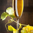 Glass of white wine with bunch of grapes — Foto Stock