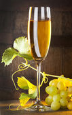 Glass of white wine with bunch of grapes — Stock Photo