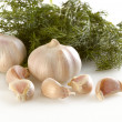 Garlic and drill — Stock Photo
