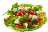 Vegetable salad with cheese — Stock Photo