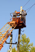 Installation new electric pylon — Stock Photo