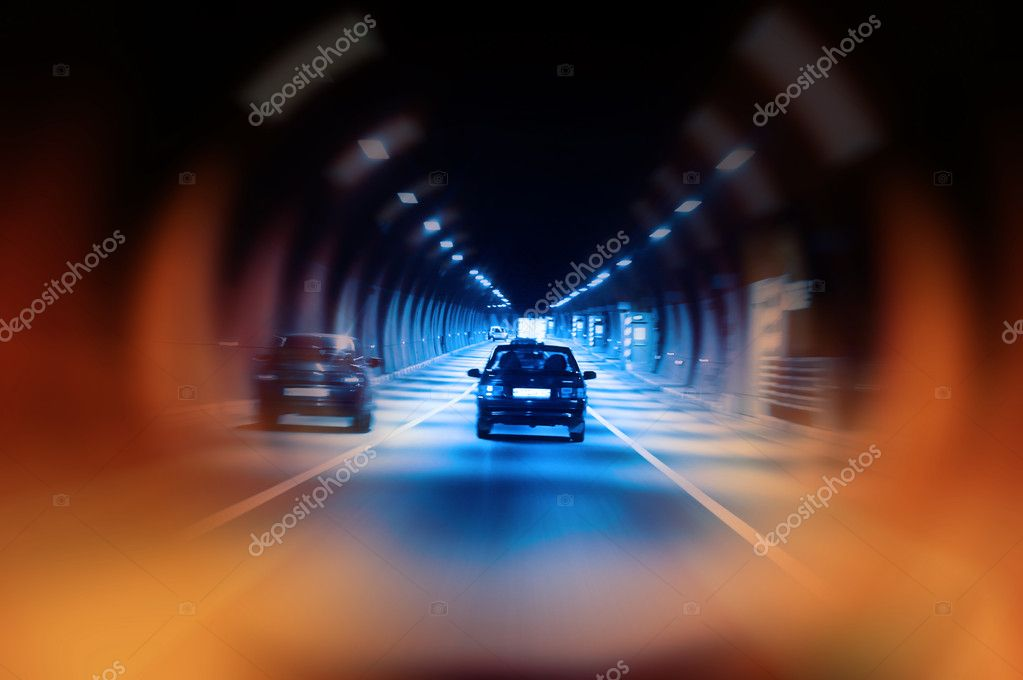 Highway tunnel at night  — Stock Photo #2562351