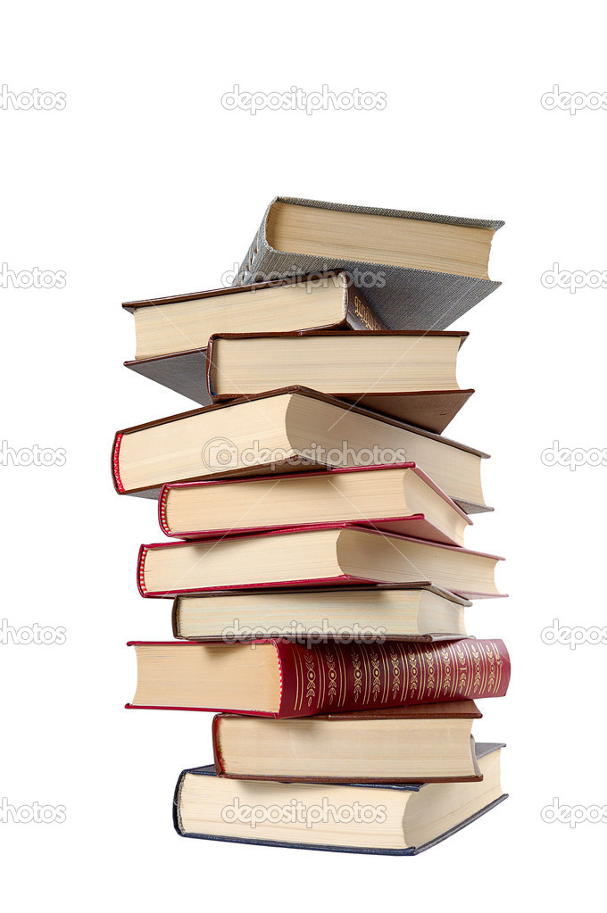 High stack of books isolated in white — Stock Photo #2562748