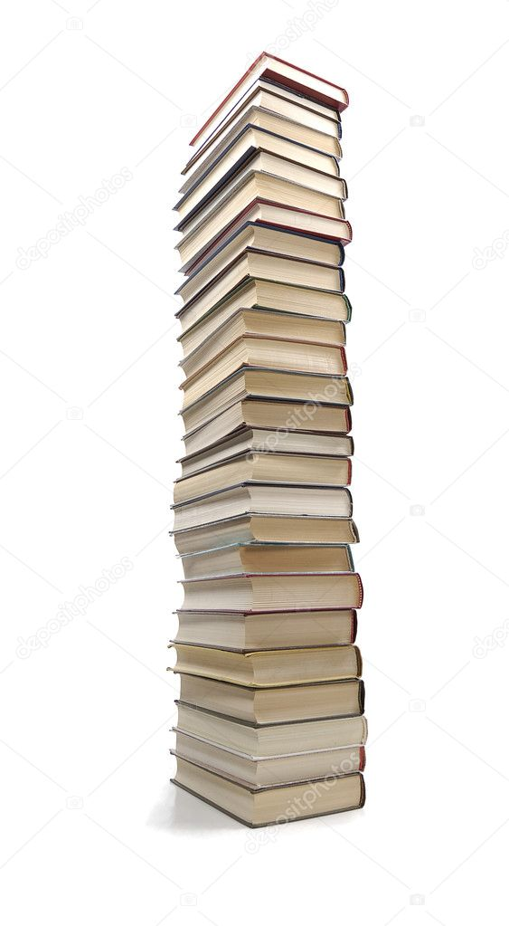 High stack of books isolated in white  Stock Photo #2562782