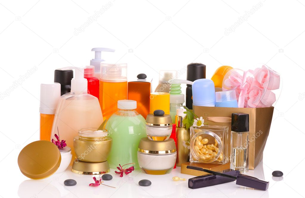 Large set of various cosmetics isolated on white — Stock Photo #2564612