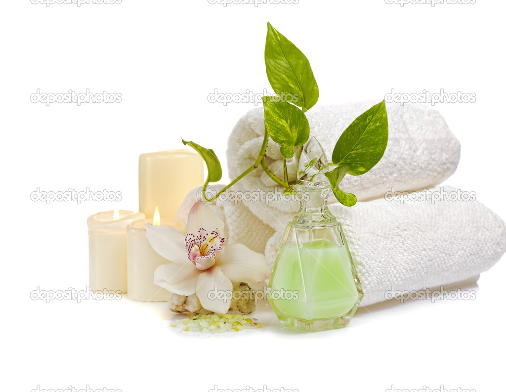 spa concept with orchid and candles on white — Stock Photo #2693524