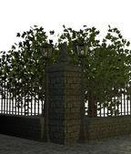 Street sidewalk with Trees — Stock Photo