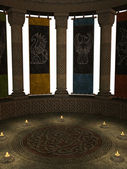 Columns with Banners and Candles — Stock Photo