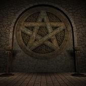 Indoor Pentagram Background — Stock Photo