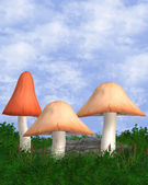 Outdoor Background With Three Mushrooms — Stock Photo