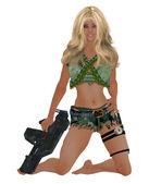 Woman Holding A Gun — Stock Photo