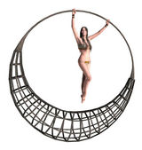Woman Hang On — Stock Photo