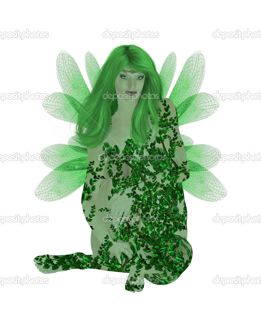 Translucent green fairy sitting down — Stock Photo #2642130