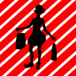 Christmas Shopping Silhouette Illustration - Stockfoto