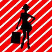 Christmas Shopping Silhouette Illustration — Stock Photo