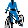 Female Bicycle Rider Illustration Silhouette — Stock Photo
