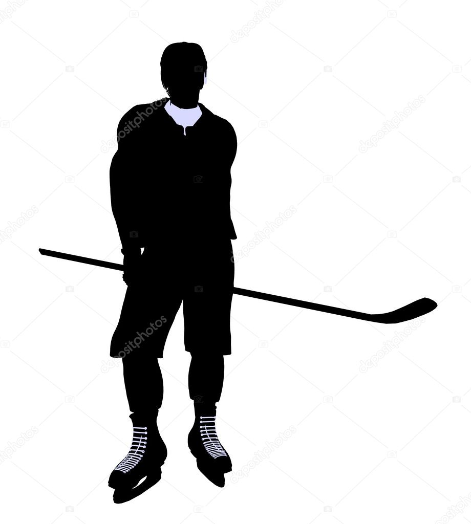 Male hockey art illustration silhouette on a white background  Stock Photo #2661785