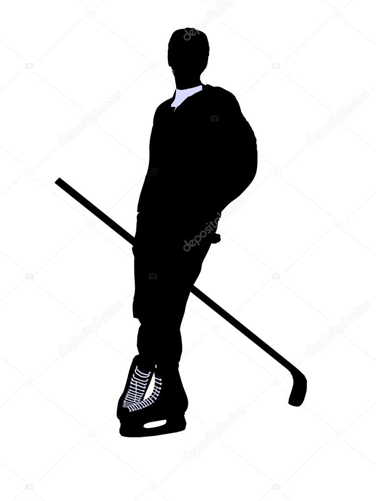 Male hockey art illustration silhouette on a white background — Stock Photo #2664410