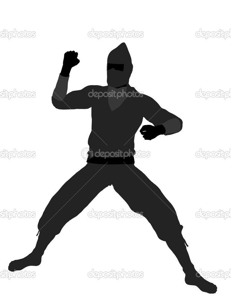 Male ninja silhouette illustration on a white background — Stock Photo #2668924