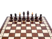 Wooden chess on white background — Stock Photo